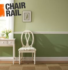A chair rail is a narrow strip of moulding that runs around the perimeter of a room, usually about 36 inches off the ground. Use it to give a room a two-tone look, or place it at the top of wainscoting for a more traditional feel.