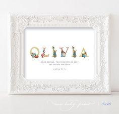 Personalised Beatrix Potter Nursery Baby Print