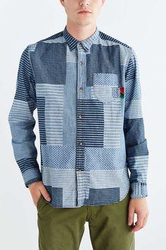 Patch work printed denim shirt