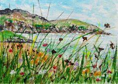 Original Acrylic Painting: COASTAL/LANDSCAPE: LANDSCAPE & WILD FLOWERS, ANGLESEY | eBay