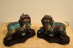 Pair of Chinese enameled bronze Fu dogs 18th c