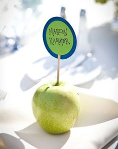 Apple place cards, use sage green and dusty rose colored paper written with guest names