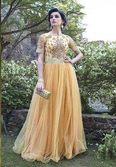 Rahi Fashion Dark Cream Net  Anarkali Gown