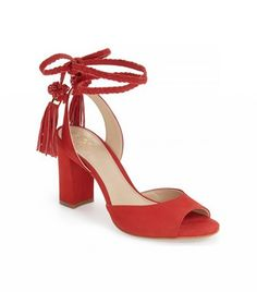 cc342f5765a Vince Camuto Vianna Block Heel Wraparound Ankle Tie Sandals Red Block Heel  Sandals