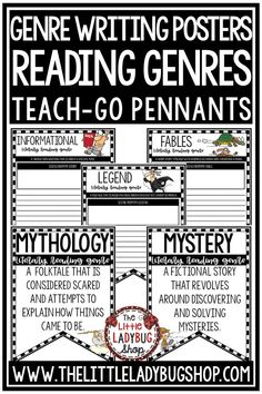You will love these Creative Literary Genre Writing Center Activities & Reading Genre Poster Pennants that are such a fun activity for your Writing Centers! Your students will be in love with these Pennants! Colored and BW included posters included.  #readinggenreposters #readinggenres #genrestudy #genrewritng #writingprompts3rdgrade #writingprompts4thgrade #readingposters