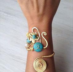 Sale turquoise bracelet gold wire wrapped by santorinijewellery