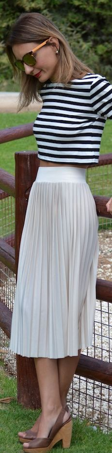 crop top and pleated midi skirt -- great together, but also both are wonderful basic additions to any closet!