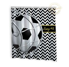 Soccer Shower Curtain   Sports Chevron Black U0026 White With Gold   Soccer  Shower Curtains   Kids Personalized Polyester Fabric #260