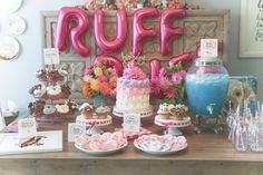 Dessert table at a puppy birthday party! See more party planning ideas at CatchMyParty.com!