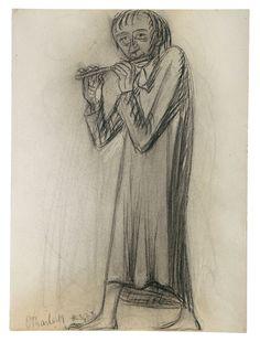 Joven con flauta travesera. Carboncillo. 1922. 50,8 x 37,3. Artista: Ernst Barlach.
