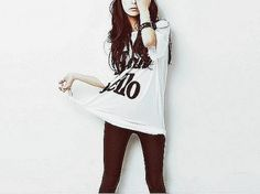 Tight black legging and white long shirt with words print. #fashion