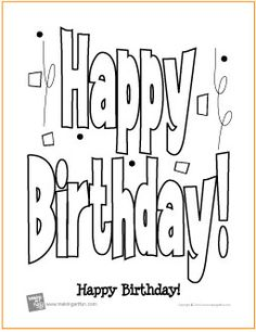 happy birthday free coloring page httpmakingartfuncom