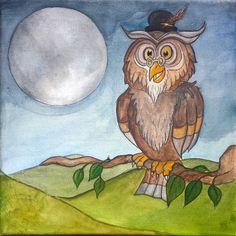 Bernard the Owl Watercolour on Canvas
