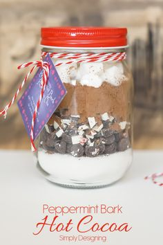 Peppermint Bark Hot Cocoa Gift Idea with Printable Tag #ad