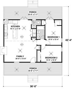 cottage style house plan 2 beds 15 baths 954 sqft plan 56 - Home Design Floor Plans