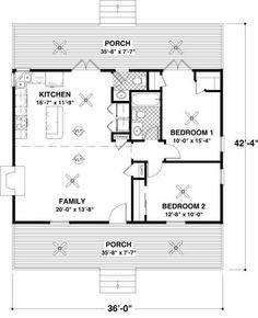 Cottage Style House Plan - 2 Beds 1.5 Baths 954 Sq/Ft Plan #56-547 Main Floor Plan - Houseplans.com