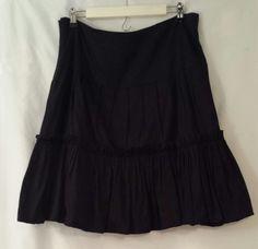 Sunny Leigh Black 100% Cotton Skirt Size 14 #SunnyLeigh #ALine
