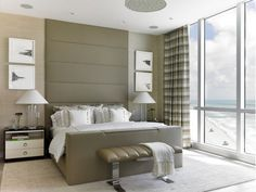 Bedroom Design with Tan Bed
