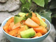 Salade de concombres et melons à la menthe (vegan, végétarien, sans gluten, sans lactose) : Recette de Salade de concombres et melons à la menthe (vegan, végétarien, sans gluten, sans lactose) - Marmiton