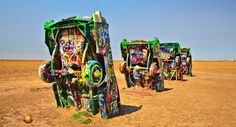 Road Tripping Route 66: Cadillac Ranch, Amarillo, TX; Off to the 16th day on the road leaving New Mexico in the rearview mirror and entering the Lone Star State. However, not leaving the Mother Road just yet ... #etbtsy #roadtrip #route66 #motherroad