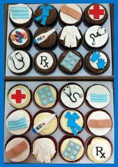 Stuff Cupcakes doctor nurse cupcakes - I'm thinking of one person and her final graduation.doctor nurse cupcakes - I'm thinking of one person and her final graduation. Nurse Cupcakes, Graduation Cupcakes, Cupcake Cakes, Medical Cake, Doctor Cake, Nurse Party, Nursing Graduation, Grad Parties, Cookie Decorating