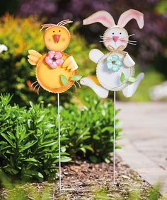 This Rabbit & Chick Garden Stake Set by Evergreen is perfect! #zulilyfinds