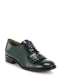 Salvatore Ferragamo Lalique Patent Leather Studded Fringe Oxfords - Gr