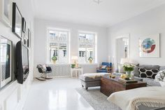 suelos de madera pintada de blanco estilo nórdico escandinavo decoración pisos suecos decoración de salones decoración de interiores decorac...