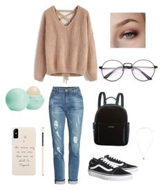 """""""School day"""" by Miricale27 on Polyvore featuring Chicwish, KUT from the Kloth, Vans, Calvin Klein, Eos and outfit"""
