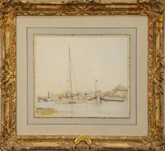 """JOHAN J. BARTHOLD JONGKIND (1819-1891)  River Scene  watercolor and pencil on paper  signed lower left Jongkind  Hammer Galleries stamp on verso #20408-4  8 1/4"""" x 9 3/4""""  Exhibited: Hammer Galleries - Drawings by the Masters December 9 through December 27, 1968  Included Documentation: Copy of Hammer Galleries original bill of sale June 14, 1968. Copy of Hammer Galleries """"Drawings by the Masters"""" December 1968 edition photograph #34. Also being sold with original folder from Hammer…"""