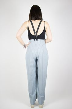 Vintage high waist stripped pants with braces