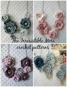 Irresistible Mori Crochet PDF Pattern Discount Pack-#22 PDF Patterns, crochet rose necklaces,romantic,crochet roses,mori jewelry irish roses