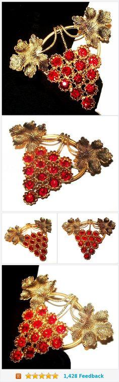 "Art Nouveau Red Rhinestone Brooch Grape Leaf Design Brass Metal C Clasp 2"" Vintage https://www.etsy.com/BrightgemsTreasures/listing/560016097/art-nouveau-red-rhinestone-brooch-grape?ref=shop_home_active_3"