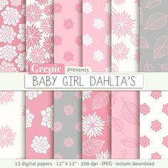 "Dahlia flower digital paper: ""BABY GIRL DAHLIAS"" clip art pink floral patterns nature, dahlias paper leaves with dahlia flowers backgrounds #digitalpaper #grepic"