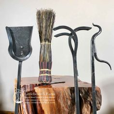Heavy hammered metal is the foundation of these quality products crafted by our colonial-style Blacksmith. No 2 sets are alike. #fireplacetools Rustic Fireplace Mantels, Fireplace Tools, Redwood Burl, Blacksmithing, Barn Wood, Colonial, Foundation, Metal, Crafts