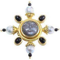 Elizabeth Locke Pearl Onyx Moonstone Yellow Gold Brooch   3500.00