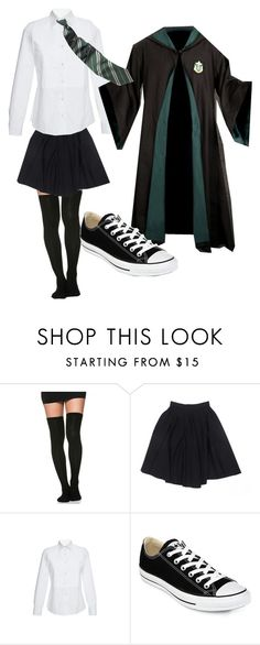 """""""Slytherin Uniform 1"""" by hmg33198 on Polyvore featuring Le Mont St. Michel, Stella Jean and Converse"""