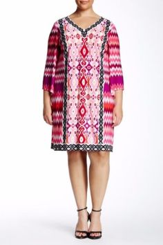 New-MAGGY-LONDON-Plus-Sz-18W-Chevron-Ikat-Printed-V-Neck-Long-Sleeves-Pink-Dress