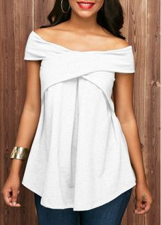 Short Sleeve Off the Shoulder White Blouse, new arrival, cute tops for fall, free shipping worldwide at www.rosewe.com.