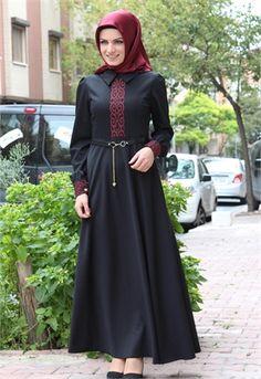 Neşe Lazer Kesimli Elbise-Siyah-2260