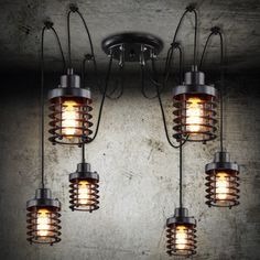 143.99$  Watch here - http://ali8l4.worldwells.pw/go.php?t=32562764384 - 6 arms Vintage industrial Nordic Chandeliers Edison Bulb Loft Retro Ceiling pendant lamp Spider indoor Art Lights dining lamps