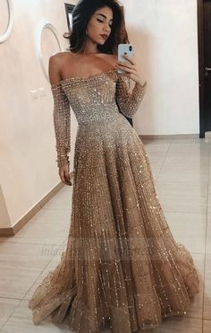 Evening dresses with sleeves - Off the Shoulder Long Sleeves Sparkle Long Prom Dresses – Evening dresses with sleeves Evening Dresses With Sleeves, Evening Gowns, Dresses Elegant, Cute Dresses, Most Beautiful Dresses, Tulle Prom Dress, Sleeved Prom Dress, Long Sleeve Gown, Prom Dresses Long Sleeve