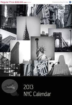BLACK CYBER SALE 2013 calendar New York City black & white 5x7 architecture photos. $25.60, via Etsy.