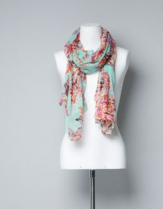 FLORAL PRINT SCARF - Scarves - Accessories - Woman - ZARA