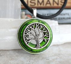 Green and silver tree of life necklace