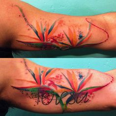 I finally added some watercolor Birds of Paradise flowers to my grandmas name :)