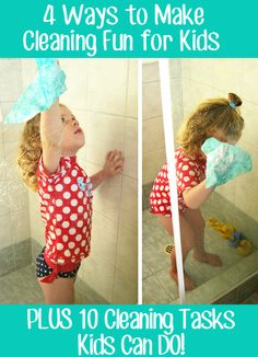 Tips for Cleaning House with Young Children in Tow. -I've seen charts with chores matched up to ages, but this is pretty open-ended and suggestive, making it easy to tweak to what you actually do. Toddler Preschool, Toddler Activities, Diy Cleaning Products, Cleaning Hacks, Chores For Kids, Up House, Thing 1, Raising Kids, Little People