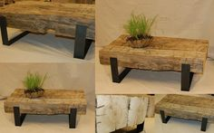 "Studio50: coffee beam table, 30""w x 50""l x 18""h. 180 year old hand hewn 10"" beams and custom steel cradle base"