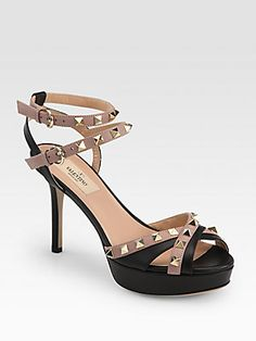 I finally caved and bought these! Valentino Rockstud Leather Ankle Strap Sandals, love!!!