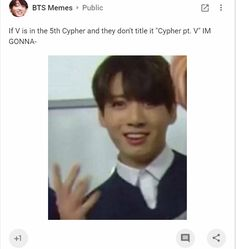Google Plus- BTS Memes Account. Cypher pt. V lol i get it cuz V is the Roman Numeral for 5. lol. BTS memes. taehyung. bts funny.